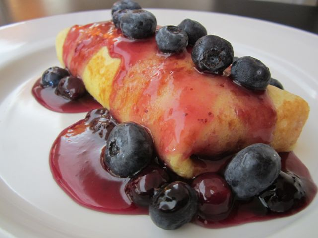 Banana Stuffed Crepes with Blueberry Compote