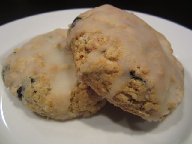 Blueberry and Oatmeal Scones with Lemon Glaze