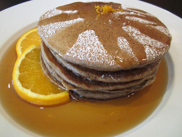Fluffy Chocolate Ricotta Pancakes with Orange Maple Syrup