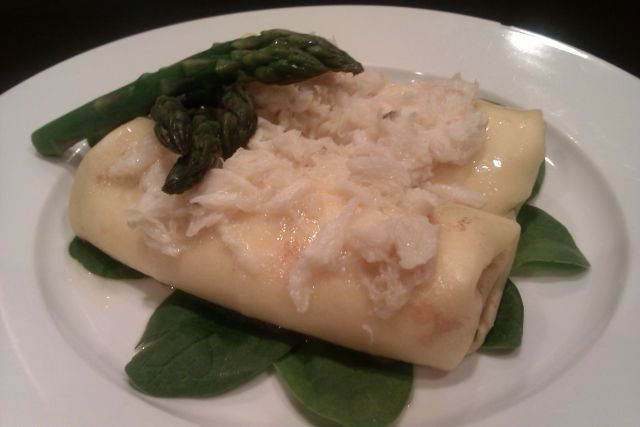 Asparagus, Parmesan and Ricotta Crepes with Fresh Crab and Brown Butter