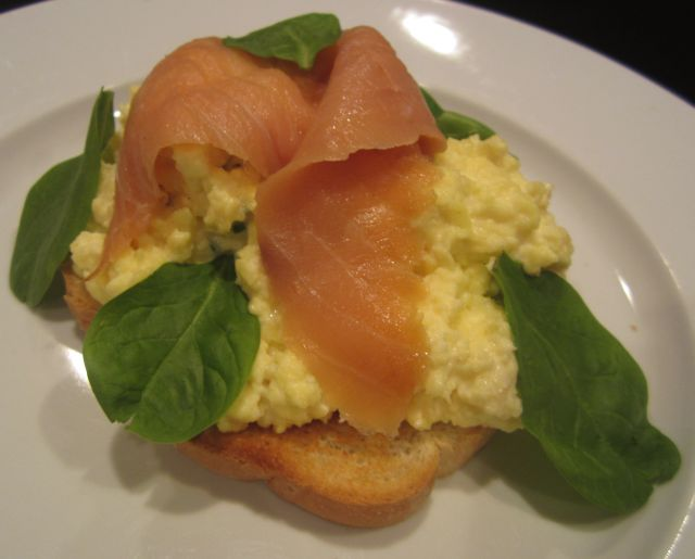 Open Face Cream Cheese and Scallions Scrambled Eggs with Spinach and Smoked Salmon