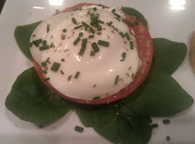 Roasted Tomato with Goat Cheese and Spinach