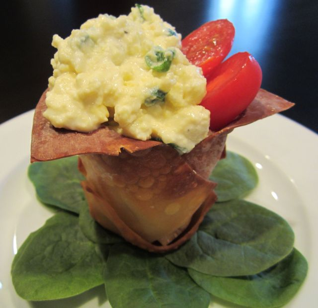Scallion, Cream Cheese Scrambled Eggs in a Wonton Cup