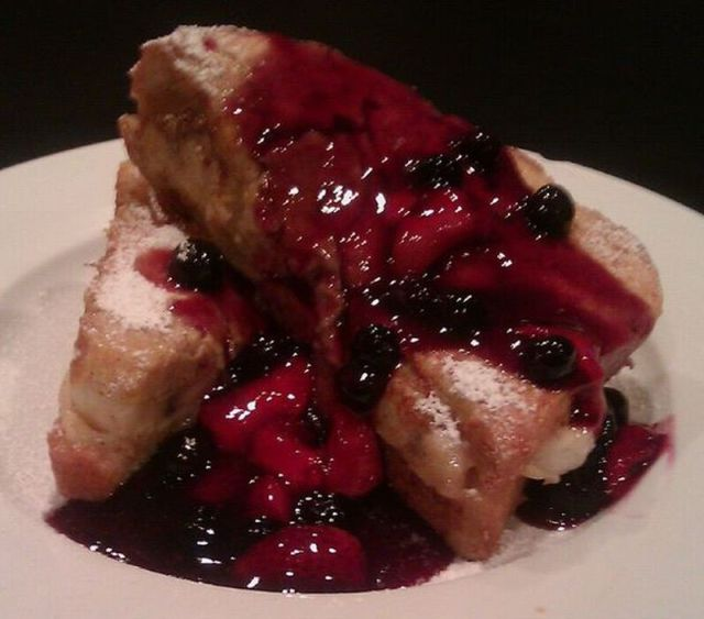 Stuffed French Toast With Blueberry and Starwberry Compote
