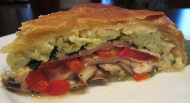 Torta Rustica with Spinach, Cermini Mushrooms, Mozzarella, Roast Peppers, Ham in Puff Pastry