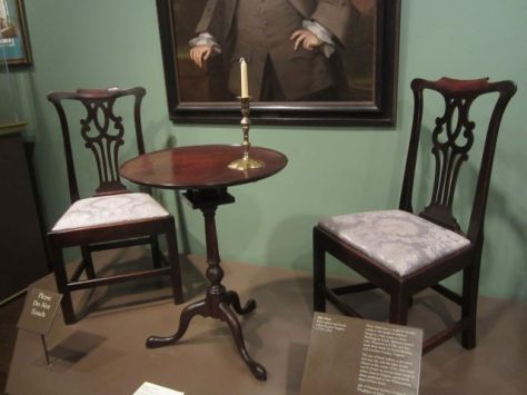 These chairs are from the family of Mildred Gregory, first cousin to Betty Washington Lewis. They were given as a gift to Kenmore in 1928 by the Daughters of 1812. The Daughters of 1812 just recently toured Belle Grove in June 2012.