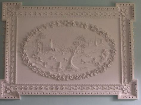 Formal Parlor Fireplace Panel Showing the Fox and Hound Story