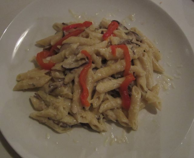 Creamy Mushrooms and Penna Pasta Roasted Red Peppers, Parmesan, Belchamel, Basil Pesto and Toasted Pine Nuts