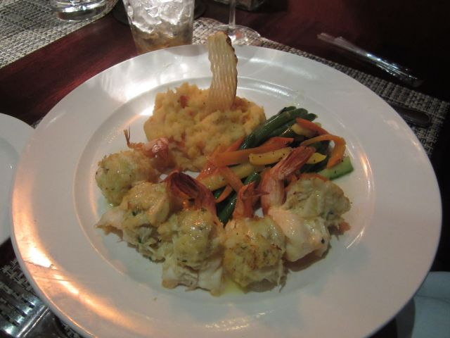 Stuffed ShrimpServed with Mash Potatoes and Vegetables.