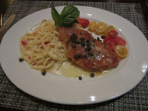 Parmesan Encrusted Chicken with Lemon Butter and Capers. Served with Linguine Alfredo and Roasted, Marinated Grape Tomatoes
