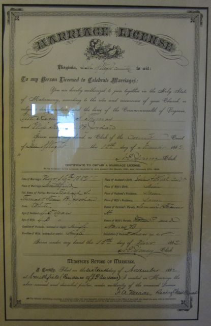 Marriage Certificate of Richard and Frances Thomas