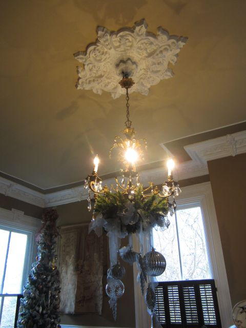 Dining Room Chandelier and Ceiling Medallion