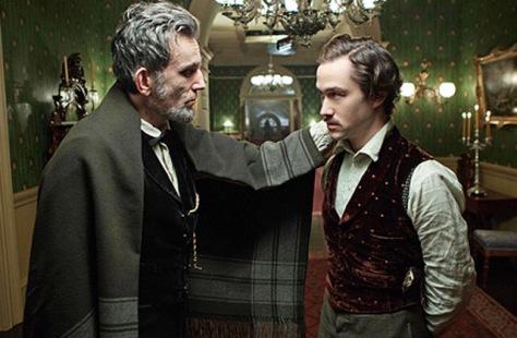 Daniel Day-Lewis as Lincoln and Joseph Gordon-Levitt as Robert Lincoln