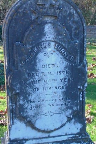 Tombstone of Carolinus TurnerLocated at Emmanuel Episcopal Church