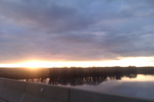 Sunset as we cross the James Madison Bridge. Belle Grove is to the right on the opposite bank.
