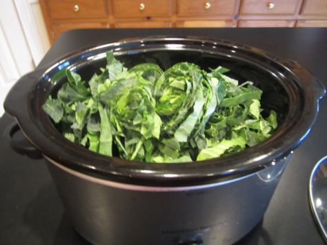 Add to Crock Pot, Remember they will cook down so you will need what looks like a lot at first.