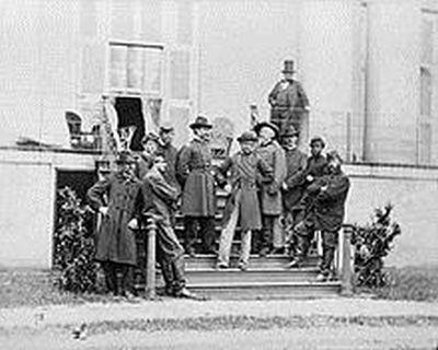 South Portico with Maj Gen E.O.C. Ord and staff