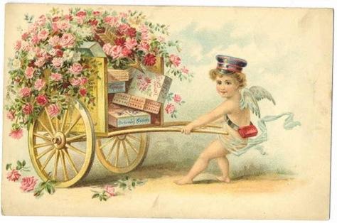 vintage-victorian-valentine-card-cherub-messenger-pulling-cart-with-roses