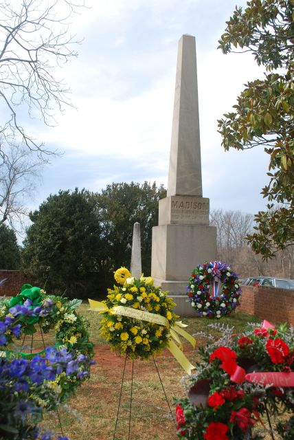Wreaths at James Madison's grave on his birthday, March 16, 2013