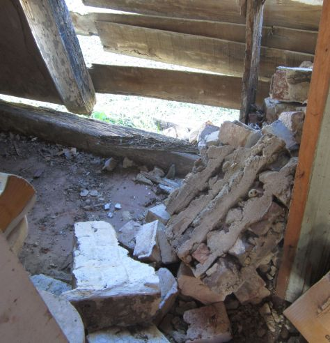 Inside the Summer Kitchen - The Walls are starting to deteriorate. This is also one of the last original Slave Quarters in Virginia that dates back to the 1700s!