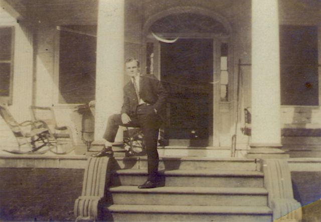 J T Hearn on steps of Belle Grove 1920s