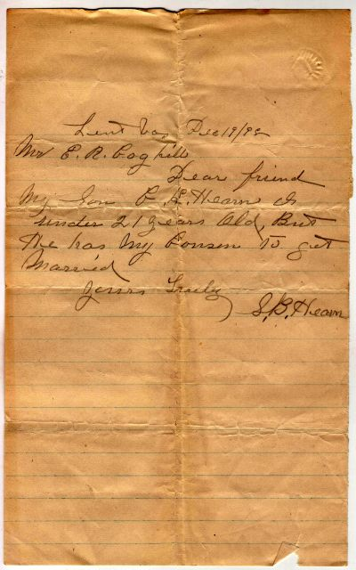 Permission for Charles K. Hearn to marry 1899