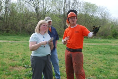Cathy Jett with Matthew from MOTs Tree Service and John our woodcarver from Virginia