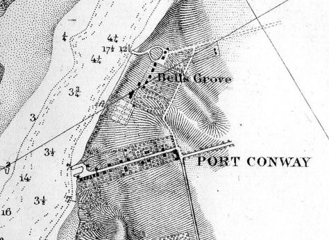 1856 Rappahannock Survey Close up of Belle Grove and Port Conway