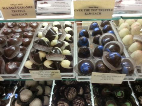The top right is a blueberry egg-shaped truffle