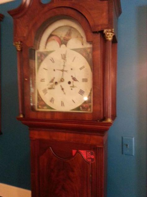"Grand Father Clock for the Parlor. Note the red ""Sold"" tag!"