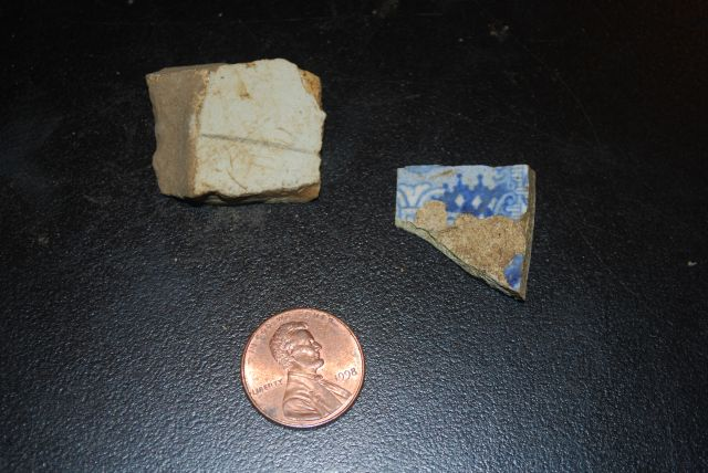 Pottery and Blue Plate Shard Dated from 1816 to 1860