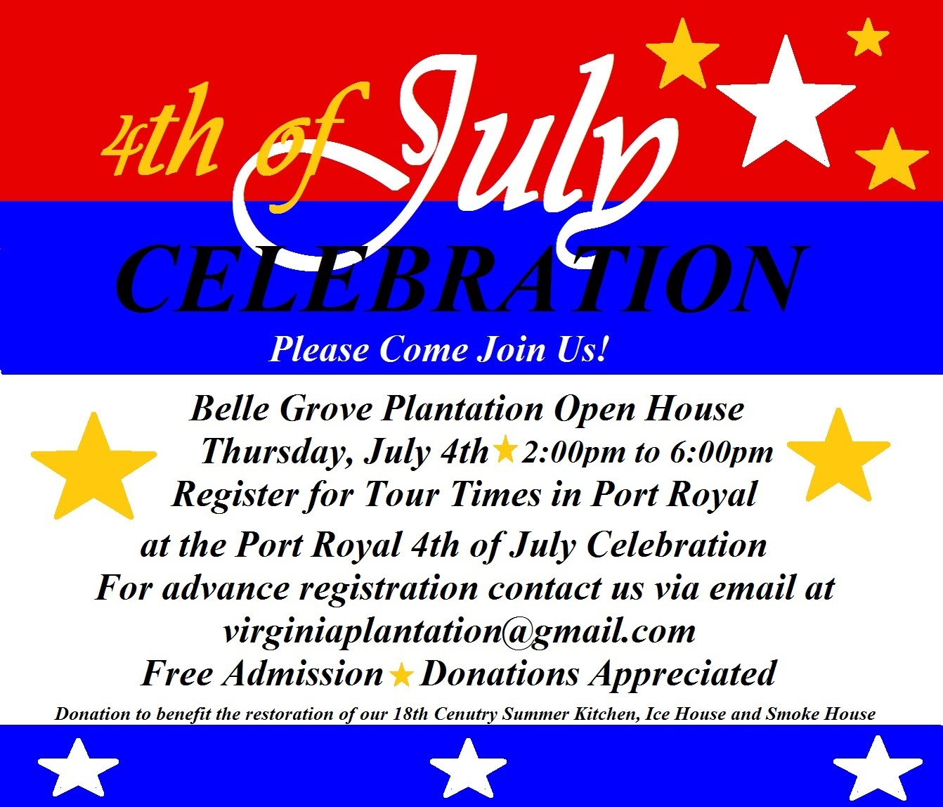 Open House To Celebrate July 4th At Belle Grove Plantation