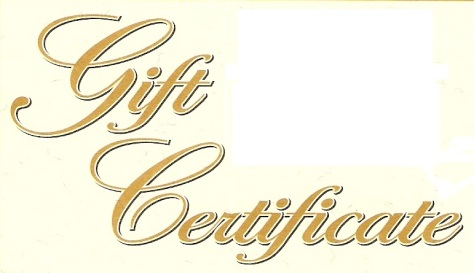 gift certificate words