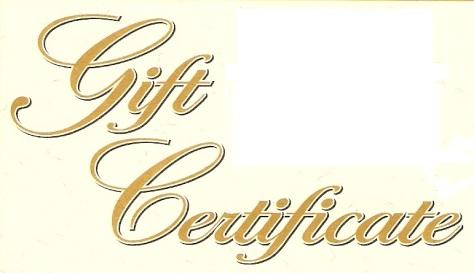 gift certificate words