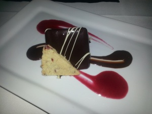 Dark Chocolate Mousse with Flourless Chocolate Cake, Shortbread with Cranberry and Cranberry and Chocolate Sauce